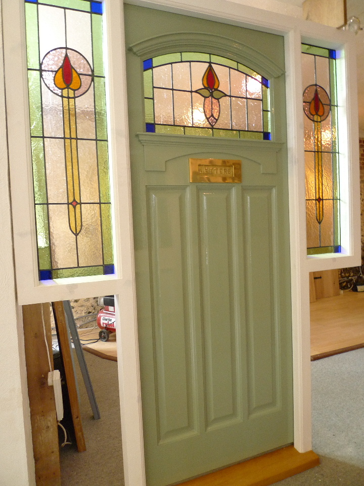 1930's Stained Glass Front Door Complete With Frame
