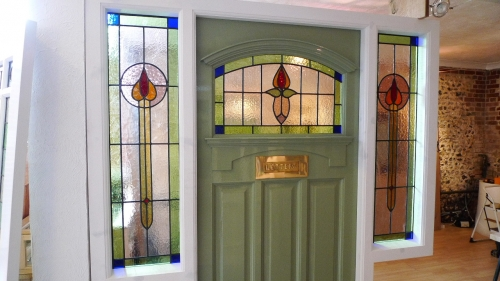 1930 S Stained Glass Front Door Complete With Frame
