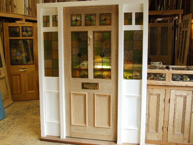 stained glass front door with frame and sidelights stained glass doors company