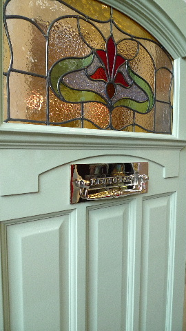 1930 S Art Nouveau Stained Glass Front Door Arch