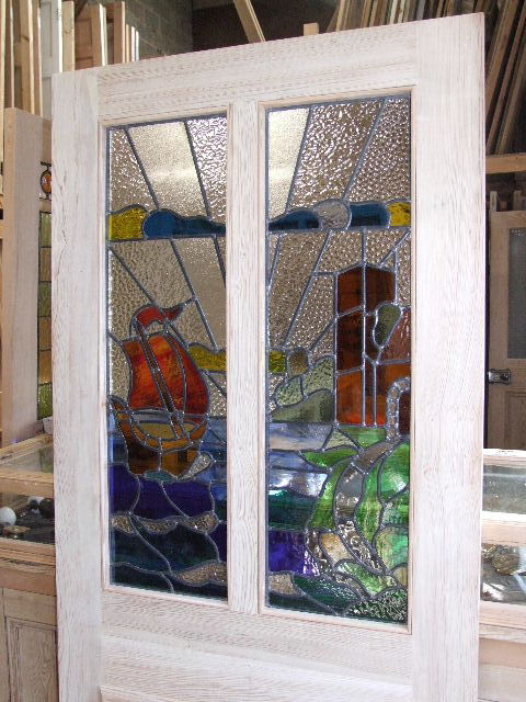 Stained Gl Sailboat Design Front Door