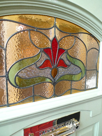 1930 39 s art nouveau stained glass front door arch for 1930s stained glass window designs