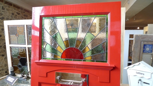 1930 S Stained Glass Front Door Sunburst Stained Glass