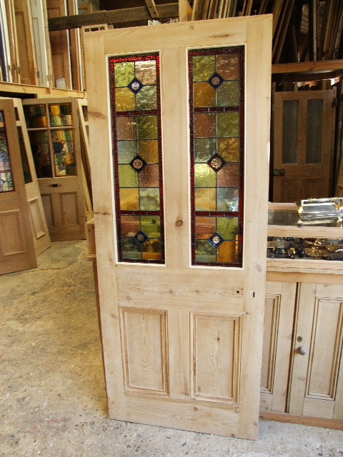 Antique Stained Glass Reclaimed Victorian Front Door