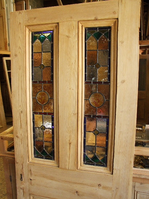 Antique Stained Glass Front Door With Handpainted Panels