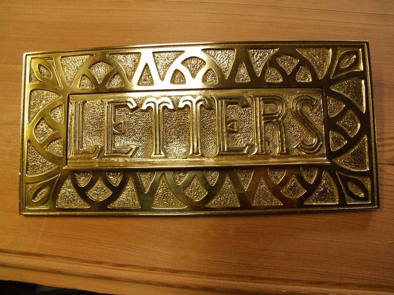 Brass Letterplate With Letters, Patterned