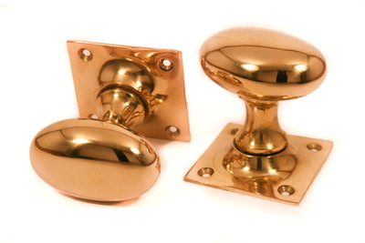 Brass Oval Door Knobs - Stained Glass Doors Company