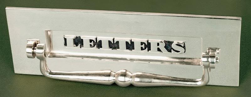"Nickel Embossed ""Letters"" Letterplate With Clapper"
