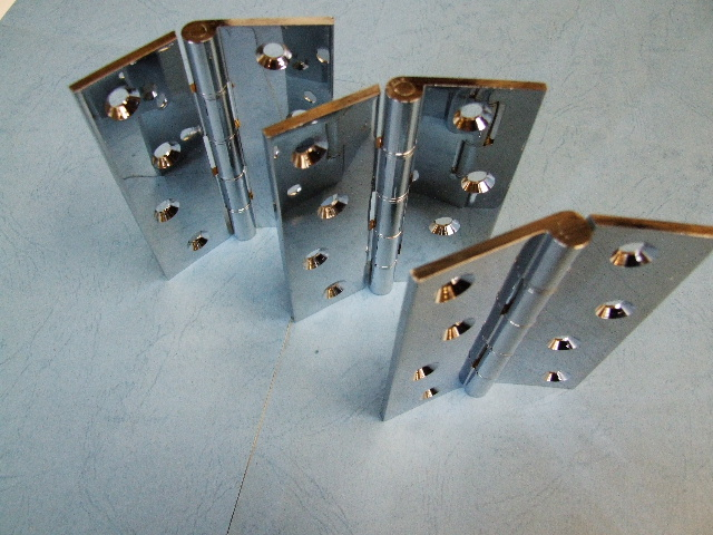 Chrome Hinges 100mm Phosphor Bronze Washers