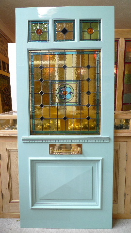 Edwardian style three over one panel stained glass front for Windows 4 sale