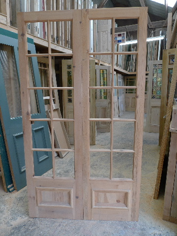 French Doors Reproduction Reclaimed Pine Stained Glass