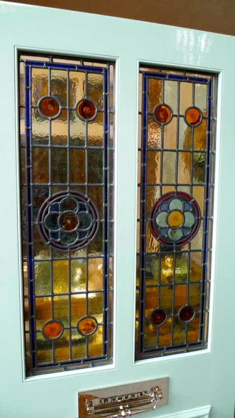 Victorian Style 2 Panel Stained Glass Front Door Stained