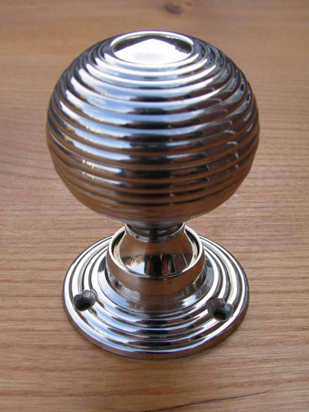 Nickel Plated Brass Beehive Door Knobs - Stained Glass Doors Company