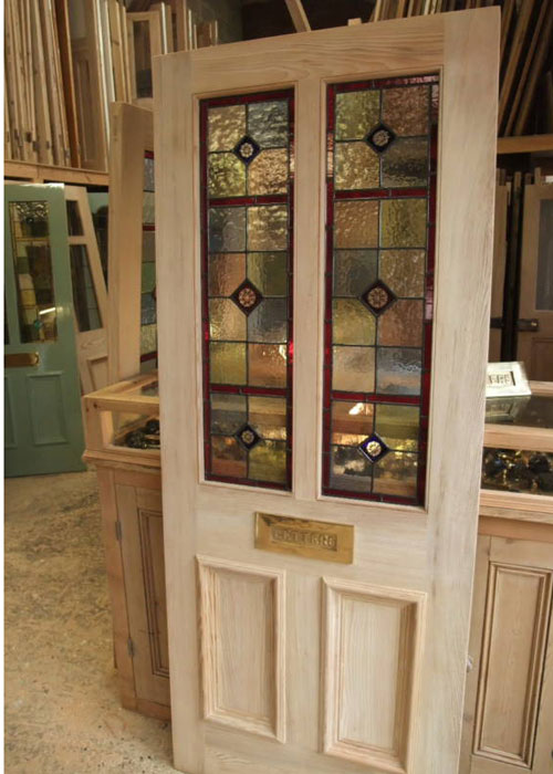 Four panel stained glass front door stained glass doors for Front door glass panels