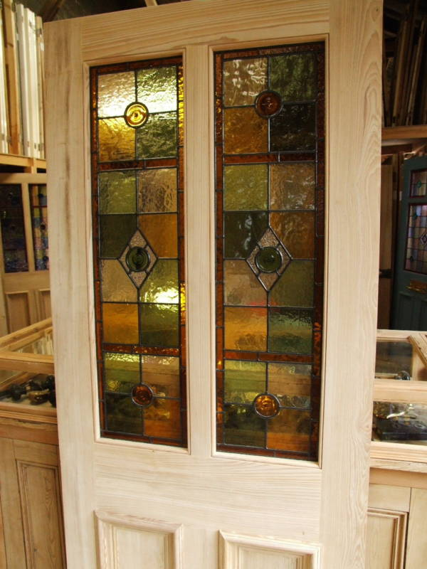 Half glazed stained glass front door stained glass doors for Half glass exterior door