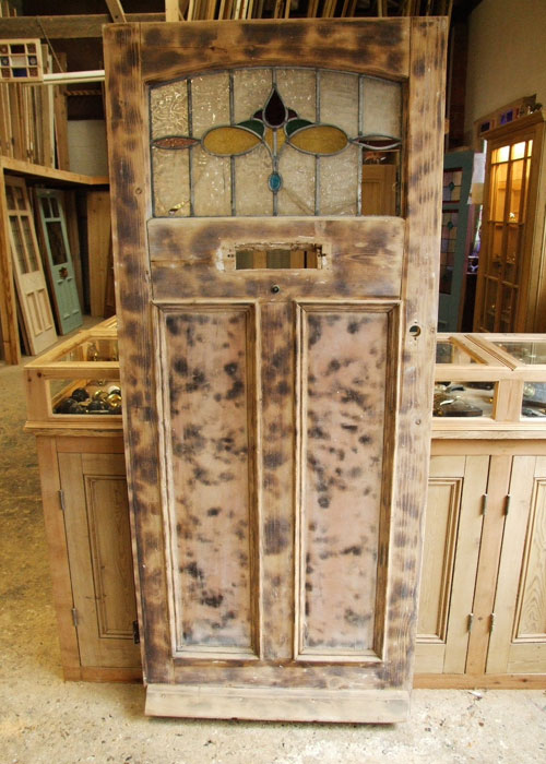 Pretty Reclaimed Pine Edwardian Front Door Stained Glass Doors Company