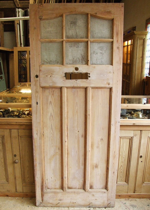 Reclaimed Pine Edwardian Front Door Stained Glass Doors Company