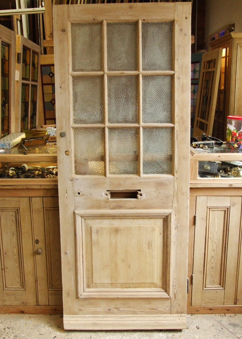 Antique Pine Victorian Front Door Stained Glass Doors