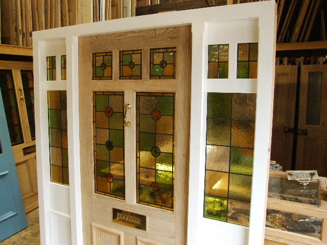 Stained glass front door with frame and sidelights for Door frame with side window