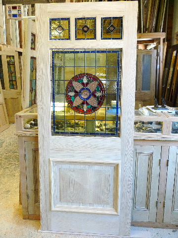 Three Over One Panel Stained Gl Front Door