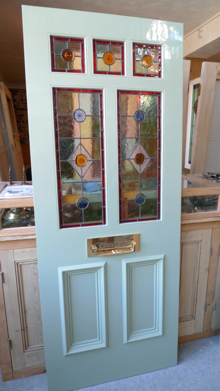 A victorian style stained glass front door incorporating 3 for Front door glass panels