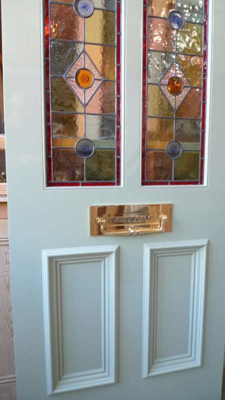 Awesome A Victorian Style Stained Glass Front Door Incorporating 3 Door Handles Collection Olytizonderlifede