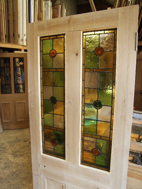 Pretty Antique Victorian Stained Glass Front Door