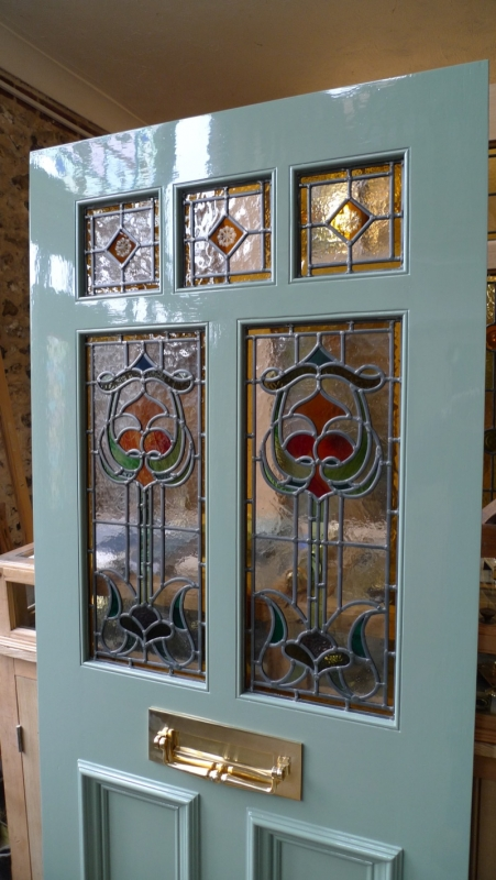 How To Apply Primer >> Art Nouveau Stained Glass Door Front Door - Stained Glass Doors Company