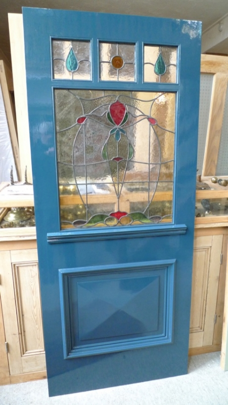 Art nouveau  Three Over One Panel Stained Glass Front Door