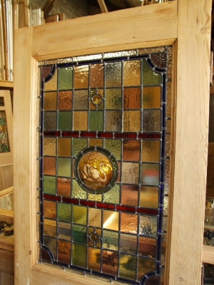 Single panel stained glass internal door with hand painted stained glass