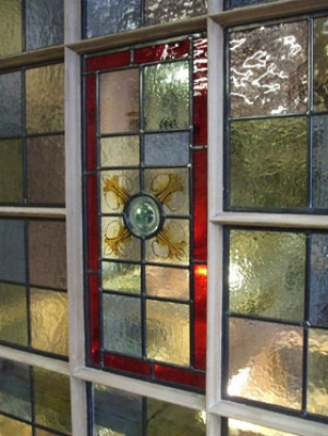 Vestibule door with hand painted stained glass panels