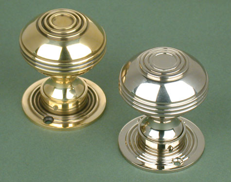 Nickel Plated Brass Reeded Door Knobs - Stained Glass Doors Company