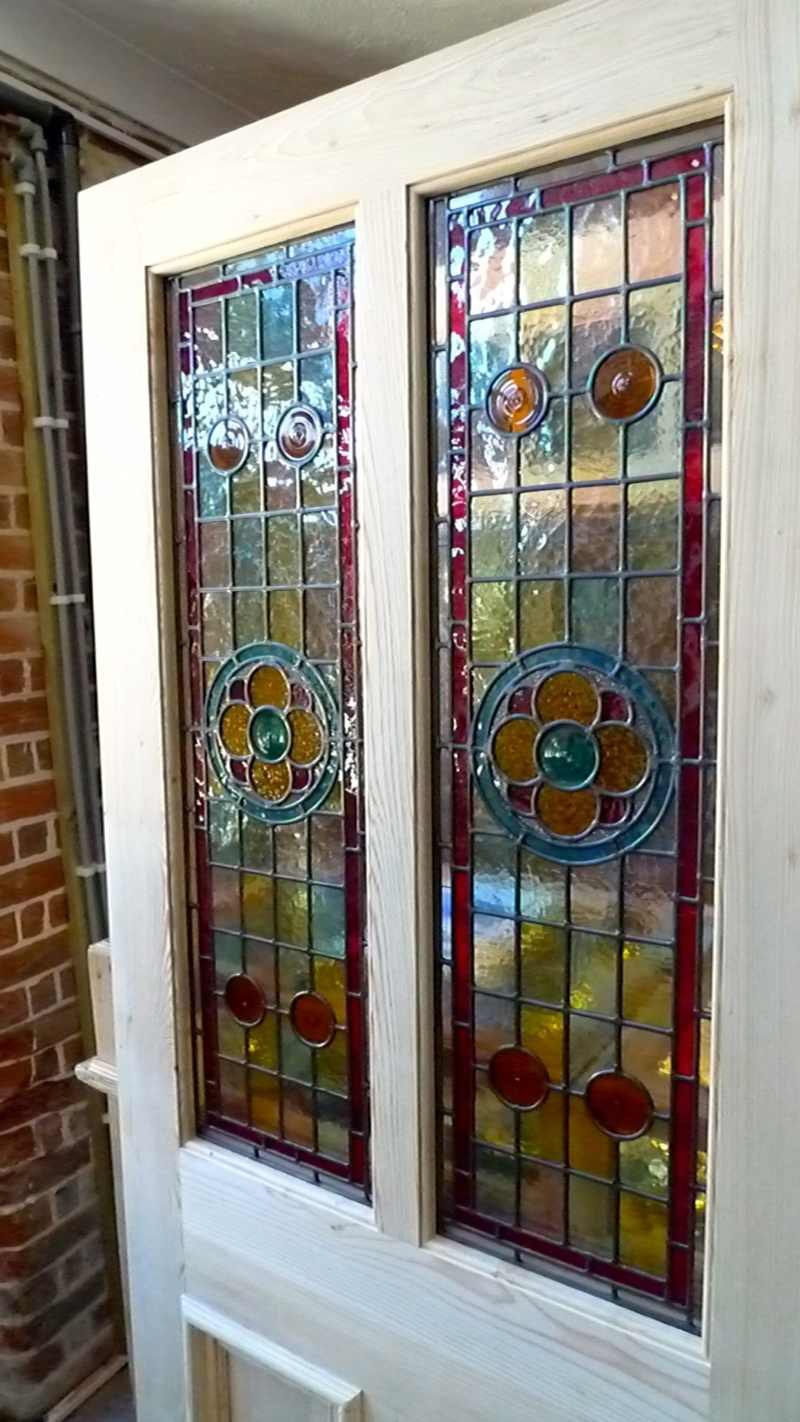 The Porch Company >> A Beautiful Victorian Style 2 Panel Stained Glass Front Door - Stained Glass Doors Company