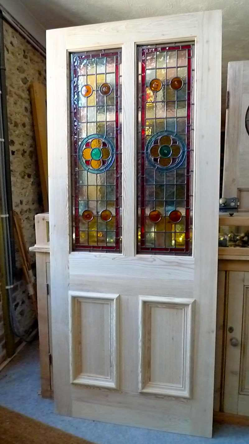 A Beautiful Victorian Style 2 Panel Stained Gl Front Door