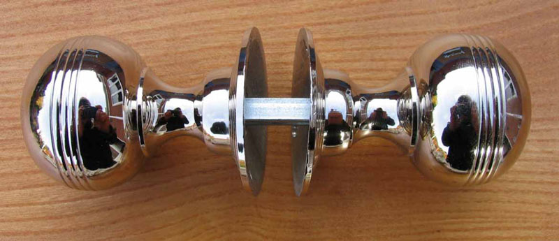 Nickel Plated Brass Reeded Door Knobs Stained Glass