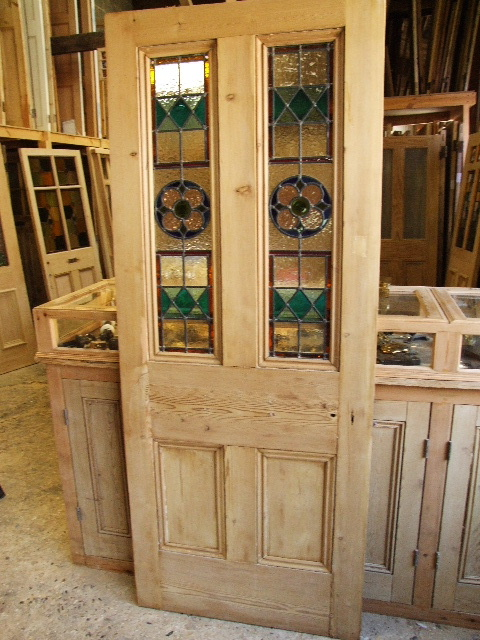 Antique Reclaimed Stained Glass Front Door - Antique Reclaimed Stained Glass Front Door - Stained Glass Doors Company