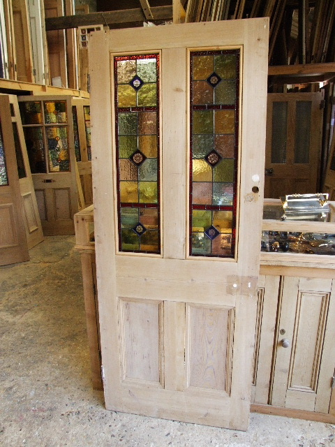 Reclaimed Antique Victorian Stained Glass Front Door