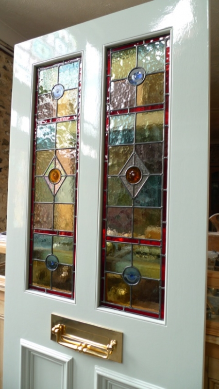 How To Apply Primer >> Stained Glass Front Door 2 Over 2 Panels - Stained Glass Doors Company