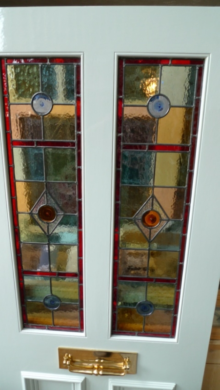 Internal Door Hinges >> Stained Glass Front Door 2 Over 2 Panels - Stained Glass ...