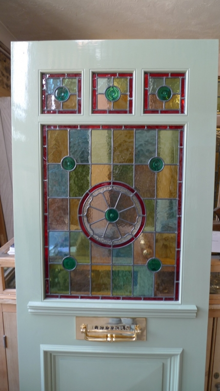 Three Over One Panel Stained Glass Front Door Stained