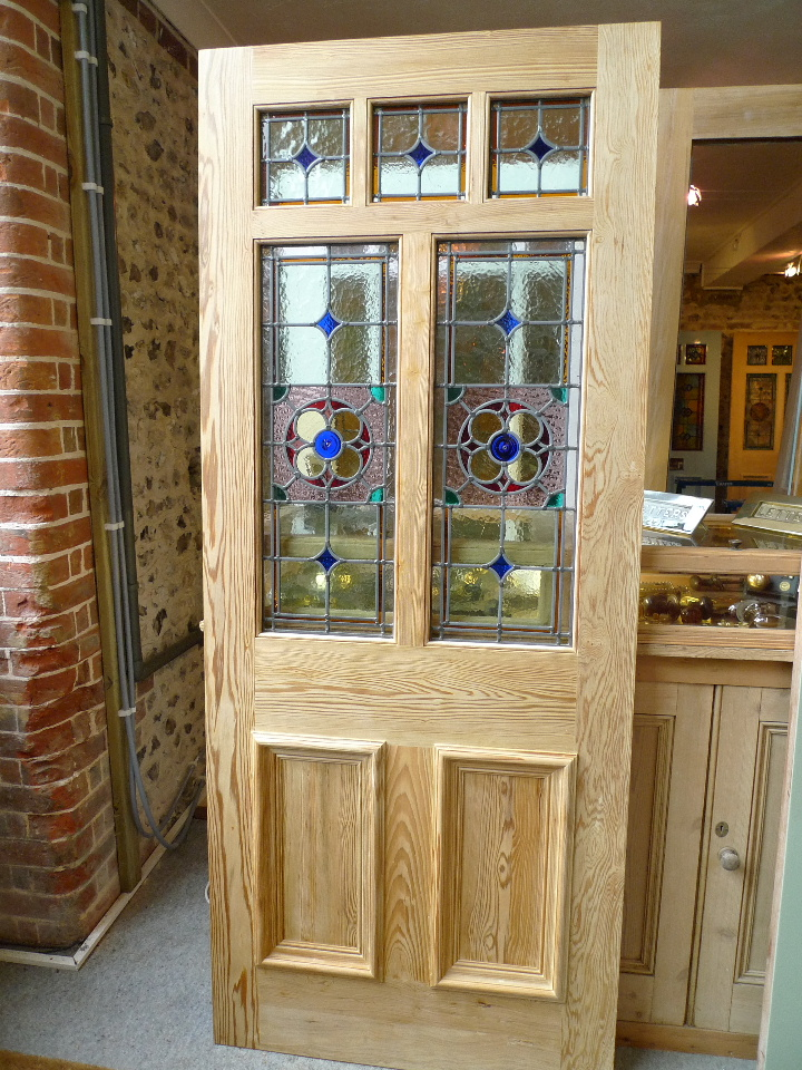 Victorian Style 7 Panel Stained Glass Front Door Stained