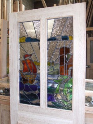 Stained Glass Sailboat Design Front Door Stained Glass